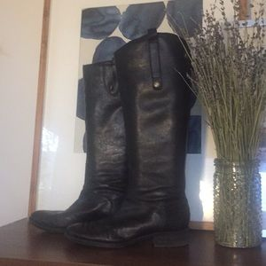 SAM EDELMAN Lux Black Leather Tall Riding Boots